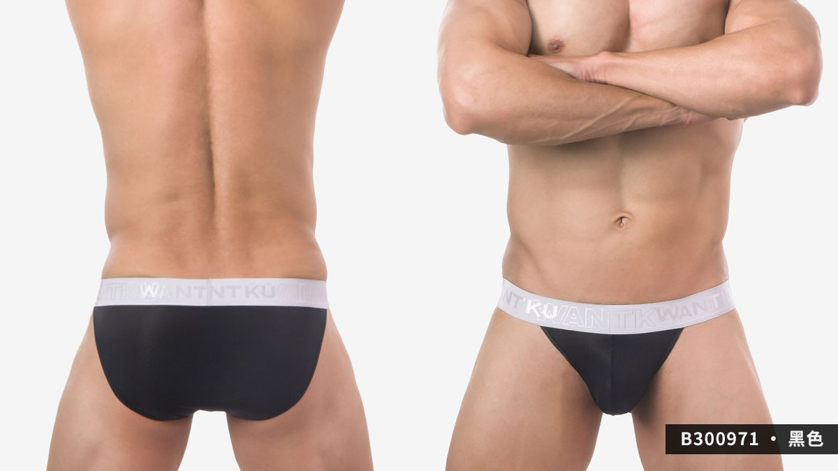 wantku,超薄,細羅紋,高岔,三角褲,男內褲,super thin,texture,briefs,b30097,黑色,black,b300971