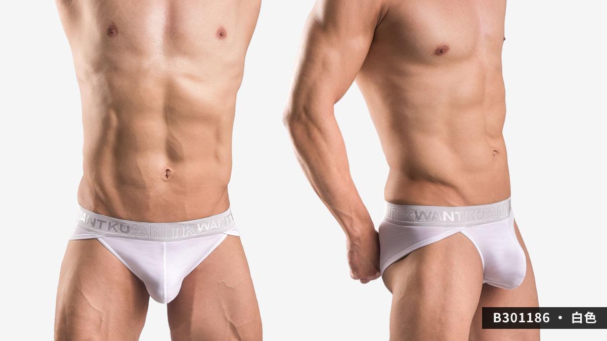 wantku,莫代爾,高岔,三角褲,男內褲,rayon,high cut,briefs,underwear,b30118,白色,white,b301186