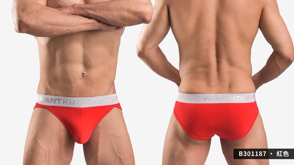 wantku,莫代爾,高岔,三角褲,男內褲,rayon,high cut,briefs,underwear,b30118,紅色,redb301187