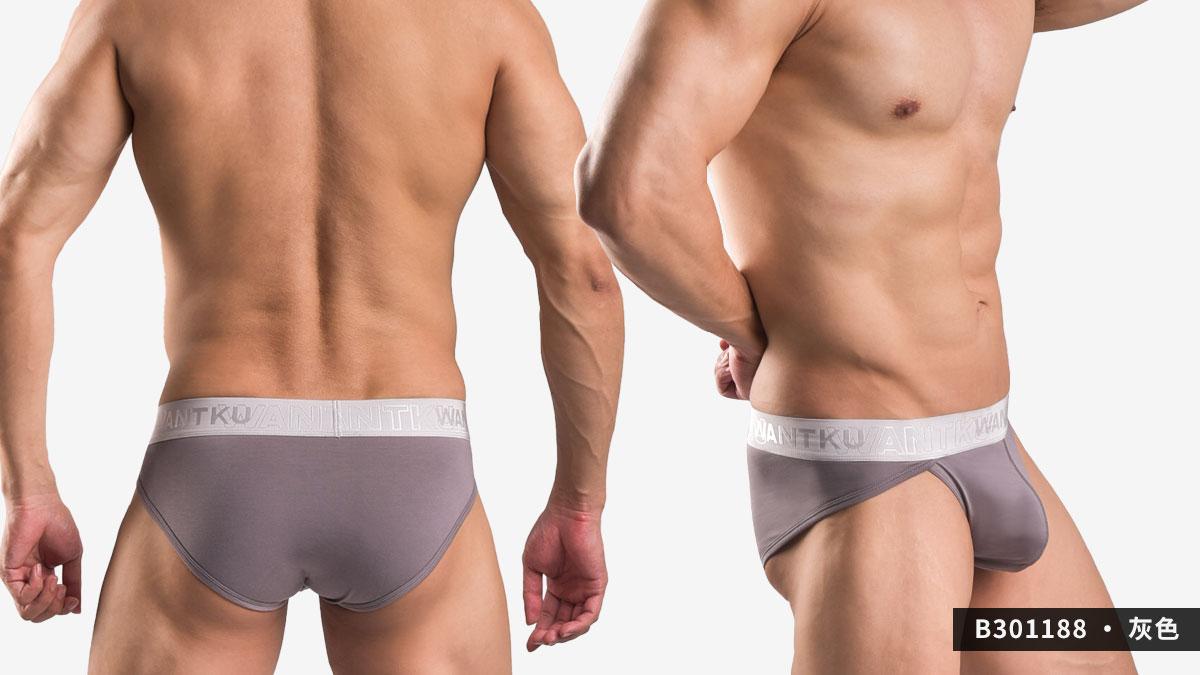 wantku,莫代爾,高岔,三角褲,男內褲,rayon,high cut,briefs,underwear,b30118,灰色,grey,b301188