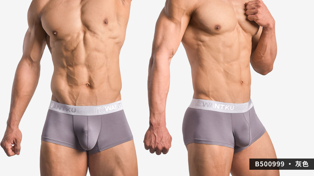 wantku,基本款,莫代爾,四角褲,basic type,rayon,boxers,b50099,灰色,grey,b500999
