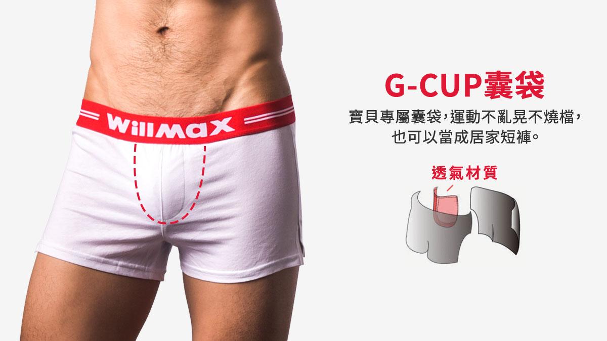 willmax,g-cup,運動,平口褲,男內褲,sports,boxers,underwear,bh242,白色,white,bh2425