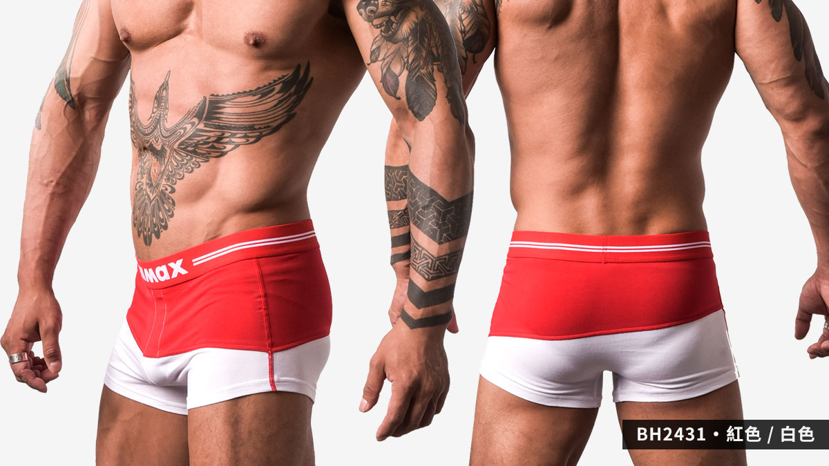 willmax,對半,撞色,運動,平口褲,男內褲,separate,contrast,sports,trunks,underwear,bh243,紅色,白色,red,white,bh2431