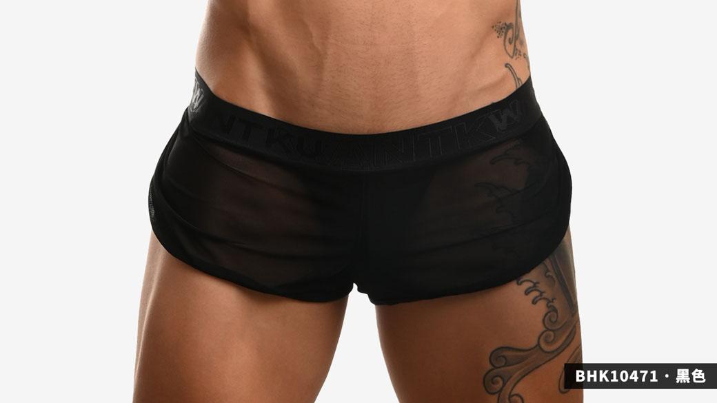 wantku,網紗,褲中褲,g-cup,提臀,平口褲,男內褲,mesh,jockstraps inside,trunks,underwears,bhk10471,黑色,black