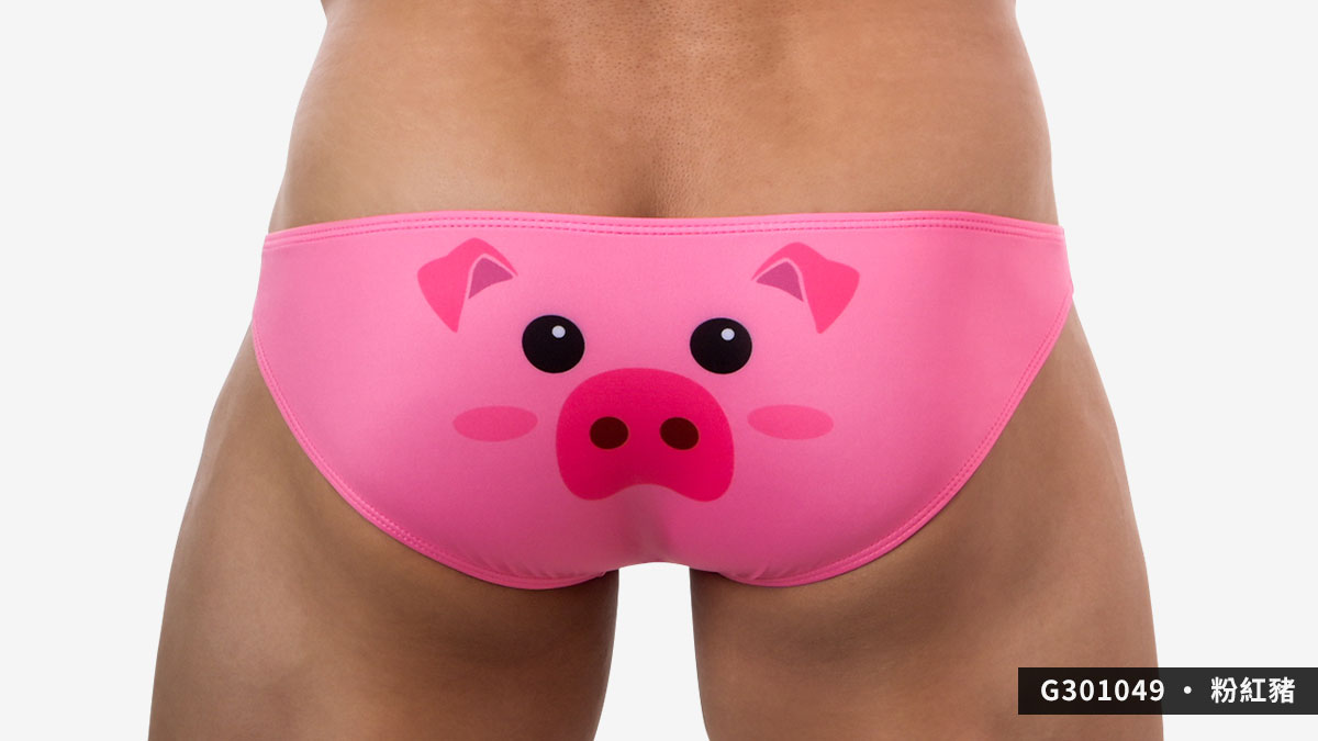 willmax,zoo,低腰,三角褲,男內褲,動物,動物園,low waist,briefs,underwear,黑色,black,法鬥,french bulldog,粉紅,pink,豬,pig,g30104,g301049