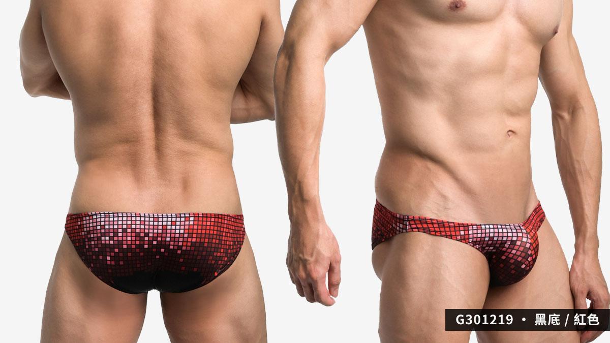 willmax,馬賽克,格子,tdt,三角褲,男內褲,mosaic,grids,briefs,underwear,g30121,黑底,紅色,black,red,g301239