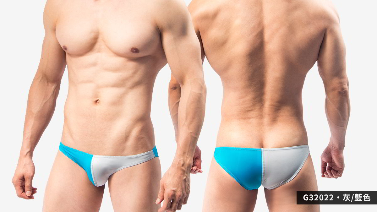 對半,撞色,超薄,低腰,三角褲,男內褲,symmetry,contrast colors,thin,low waist,briefs,underwear,G3202,灰色,藍色,grey,blue,G32022