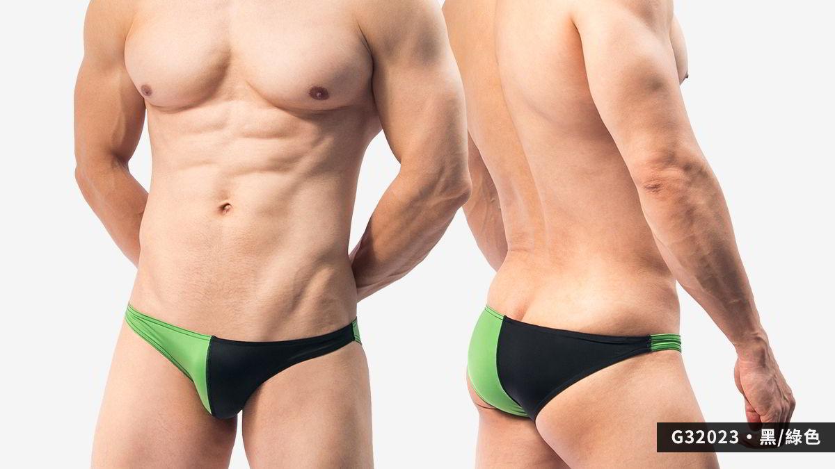 對半,撞色,超薄,低腰,三角褲,男內褲,symmetry,contrast colors,thin,low waist,briefs,underwear,G3202,黑色,綠色,black,green,G32023
