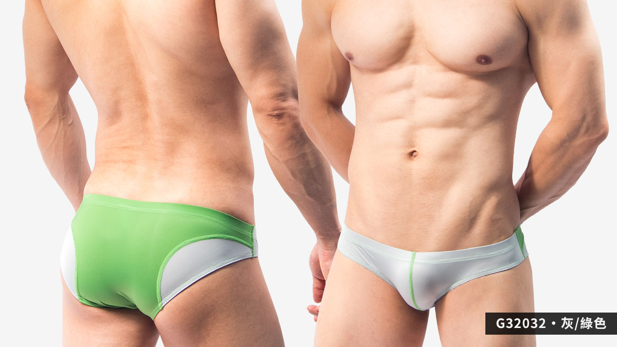 流線,撞色,超薄,低腰,三角褲,男內褲,streamline,contrast colors,thin,low waist,briefs,underwear,g3203,灰色,綠色,grey,green,g32032