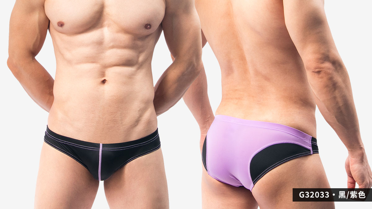 流線,撞色,超薄,低腰,三角褲,男內褲,streamline,contrast colors,thin,low waist,briefs,underwear,g3203,黑色,紫色,black,purple,g32033