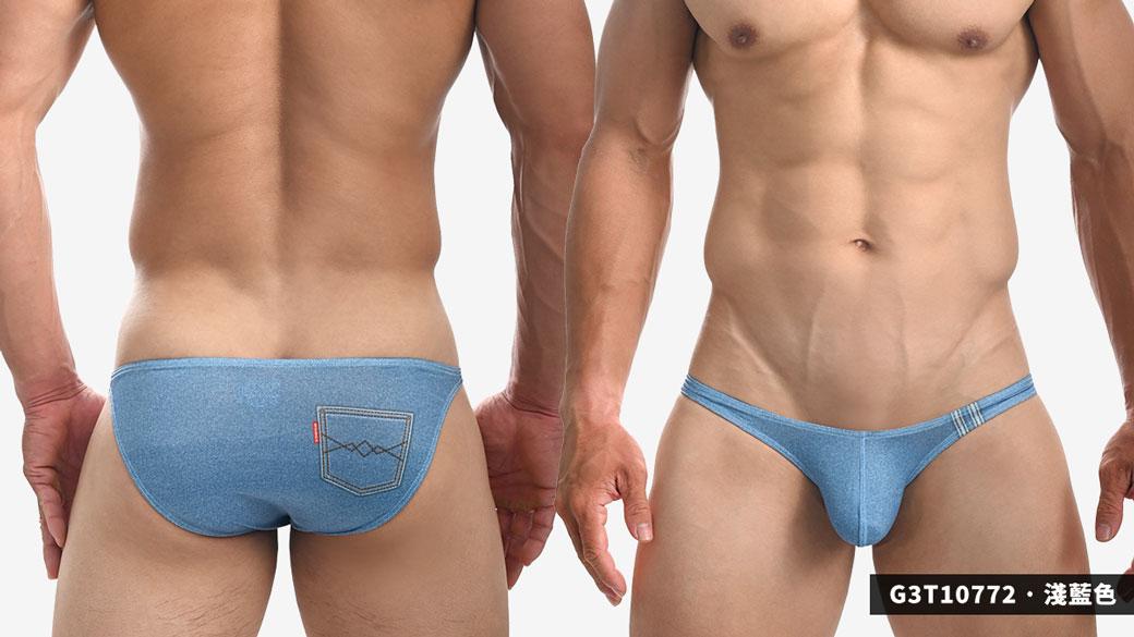 willmax,牛仔褲,圖紋,tdt,激凸,三角褲,男內褲,g3t1077,jamie,pattern,protruding,briefs,underwear,灰黑色,grey black,淺藍色,light blue