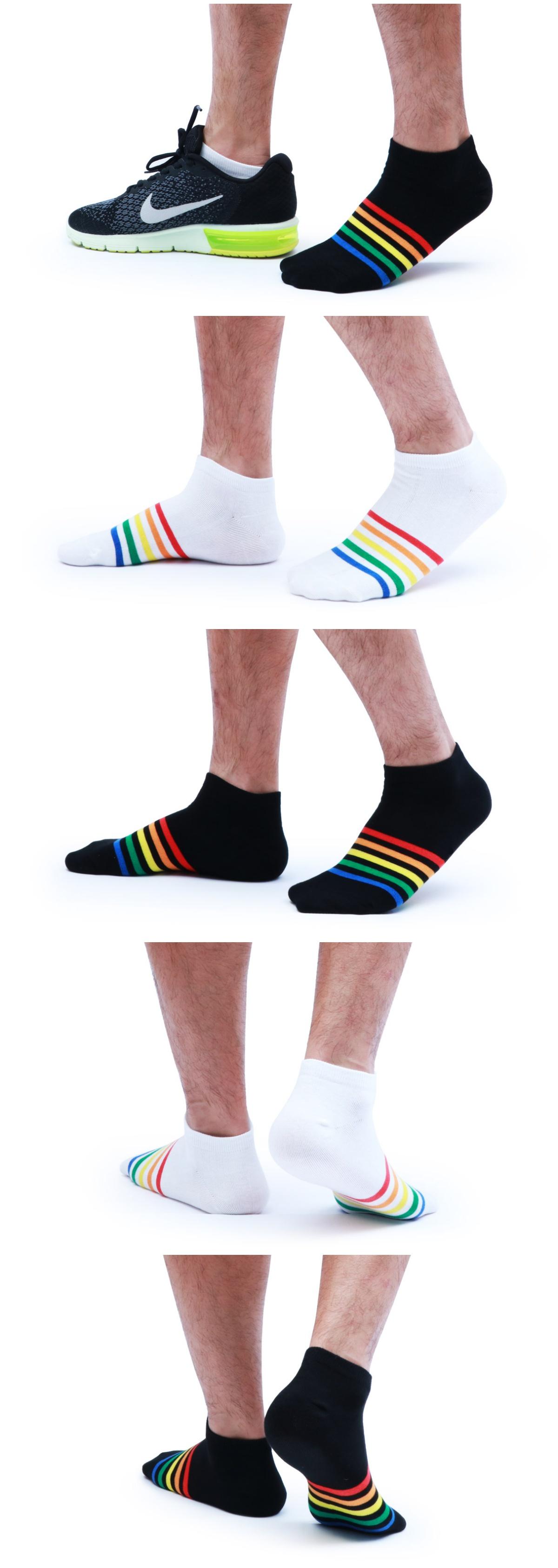 男,彩虹襪,黑底,白底,彩虹條紋