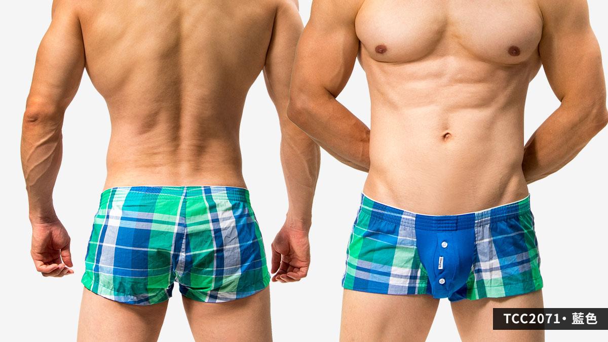 短版,囊袋,格紋,平口褲,男內褲,shortly,pouch,grids pattern,trunks,underwear,tcc207,藍色,blue,tcc2071