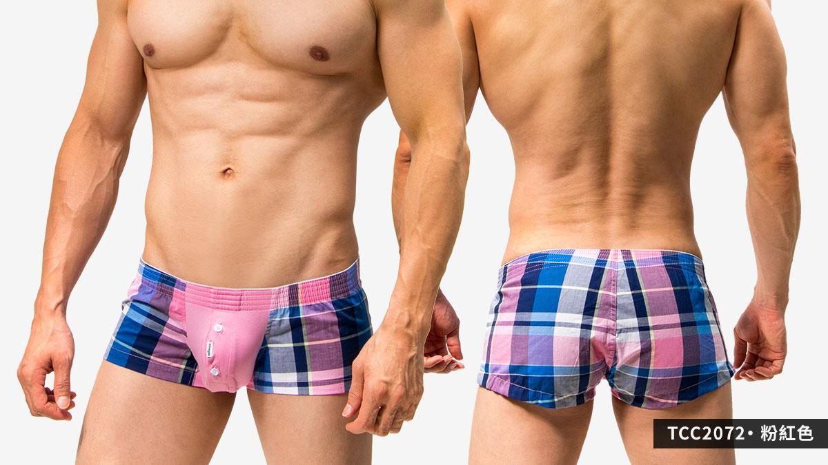 短版,囊袋,格紋,平口褲,男內褲,shortly,pouch,grids pattern,trunks,underwear,tcc207,粉紅色,pink,tcc2072